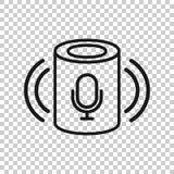 Βοηθητικό εικονίδιο φωνής στο διαφανές ύφος Το έξυπνο σπίτι βοηθά τη διανυσματική απεικόνιση στο απομονωμένο υπόβαθρο Επιχείρηση  ελεύθερη απεικόνιση δικαιώματος