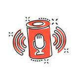 Βοηθητικό εικονίδιο φωνής στο κωμικό ύφος Το έξυπνο σπίτι βοηθά τη διανυσματική απεικόνιση κινούμενων σχεδίων απομονωμένο στο λευ διανυσματική απεικόνιση