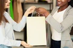 Βοηθός καταστημάτων που δίνει την τσάντα αγορών στο θηλυκό πελάτη στοκ φωτογραφία με δικαίωμα ελεύθερης χρήσης