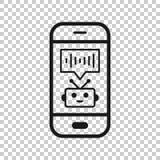 Βοηθός φωνής στο εικονίδιο smartphone στο διαφανές ύφος Υγιής διανυσματική απεικόνιση αρχείων στο απομονωμένο υπόβαθρο Αναγνώριση απεικόνιση αποθεμάτων
