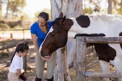 Βοηθώντας αδελφή γυναικών για το άλογο καθαρισμού Στοκ εικόνα με δικαίωμα ελεύθερης χρήσης