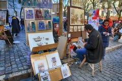 Βοημίας ζωγράφοι που εργάζονται στο Παρίσι στην περιοχή Montmartre Στοκ εικόνα με δικαίωμα ελεύθερης χρήσης