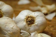 Βολβοί σκόρδου και γαρίφαλα σκόρδου στον ξύλινο αγροτικό πίνακα στοκ εικόνες