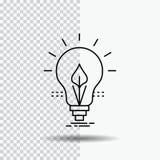 βολβός, ιδέα, ηλεκτρική ενέργεια, ενέργεια, ελαφρύ εικονίδιο γραμμών στο διαφανές υπόβαθρο Μαύρη διανυσματική απεικόνιση εικονιδί διανυσματική απεικόνιση
