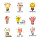 Βολβός ιδεών logotypes Ζωηρόχρωμο δημιουργικό λαμπτήρων ισχυρό διάνυσμα συμβόλων μορφής έξυπνο logotypes ελεύθερη απεικόνιση δικαιώματος