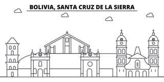 Βολιβία, Santa Cruz de Λα Sierra κτήρια οριζόντων αρχιτεκτονικής, σκιαγραφία, τοπίο περιλήψεων, ορόσημα editable απεικόνιση αποθεμάτων