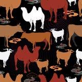 Βοσκή βοοειδών σε ένα λιβάδι διανυσματική απεικόνιση