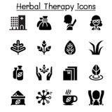 Βοτανικά θεραπεία & σύνολο εικονιδίων SPA απεικόνιση αποθεμάτων