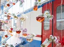 Βοτανικά μπουκάλια τσαγιού που κρεμούν στις σειρές Στοκ Εικόνες