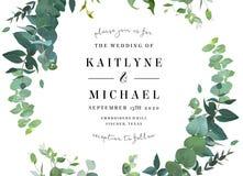 Βοτανική γαμήλια πρόσκληση πρασινάδων διανυσματική απεικόνιση