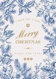 Βοτανική κάρτα Χριστουγέννων στοκ εικόνες