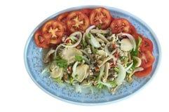 Βοτανική πικάντικη σαλάτα στο μπλε πιάτο Στοκ Εικόνα