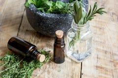 Βοτανική προετοιμασία Aromatherapy στο ξύλινο υπόβαθρο Στοκ Φωτογραφίες