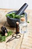 Βοτανική προετοιμασία Aromatherapy στο ξύλινο υπόβαθρο Στοκ Εικόνες