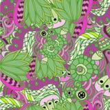 Βοτανικό γεωμετρικό διακοσμητικό σχέδιο υποβάθρου με τα φύλλα Στοκ φωτογραφία με δικαίωμα ελεύθερης χρήσης