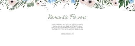 Βοτανικό διανυσματικό έμβλημα σχεδίου Horisontal Ρόδινος αυξήθηκε, ευκάλυπτος, succulents, λουλούδια, πρασινάδα Φυσική κάρτα άνοι απεικόνιση αποθεμάτων