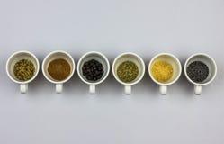 βοτανικό λευκό αφεψημάτων τσαγιού φύλλων συστατικών χορταριών καρπών ανασκόπησης Στοκ Εικόνες