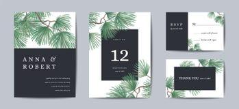 Βοτανικό σχέδιο προτύπων καρτών γαμήλιας πρόσκλησης, δέντρο πεύκων με το χρυσό φύλλο αλουμινίου, χαιρετισμοί Χριστουγέννων, συλλο ελεύθερη απεικόνιση δικαιώματος