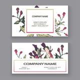 Βοτανικό σχέδιο προτύπων καρτών γαμήλιας πρόσκλησης, συρμένα χέρι φούξια λουλούδια και φύλλα, εκλεκτής ποιότητας αγροτικός χρώματ ελεύθερη απεικόνιση δικαιώματος