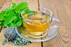 Βοτανικό τσάι με melissa σε ένα φλυτζάνι και έναν διηθητήρα Στοκ Φωτογραφίες