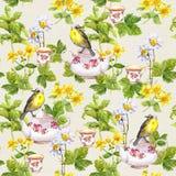 Βοτανικό τσάι - δοχείο, φλυτζάνι και πουλί επανάληψη προτύπων watercolor Στοκ εικόνες με δικαίωμα ελεύθερης χρήσης