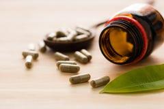 βοτανικό φάρμακο ή χάπι στο ξύλο Στοκ Εικόνες