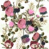 Βοτανικό floral σχέδιο με τα λουλούδια τομέων για το σχέδιο Ιδανικά FO απεικόνιση αποθεμάτων