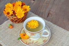 Βοτανικό marigold τσάι με τα λουλούδια Στοκ Εικόνες