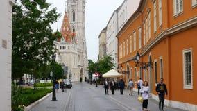 ΒΟΥΔΑΠΕΣΤΗ - ΟΥΓΓΑΡΙΑ, ΤΟΝ ΑΎΓΟΥΣΤΟ ΤΟΥ 2015: Ουγγρικά οδοί και διαμερίσματα απόθεμα βίντεο