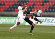 Βουδαπέστη Honved εναντίον του αγώνα ποδοσφαίρου ένωσης τράπεζας dvsc-TEVA OTP Στοκ Φωτογραφίες