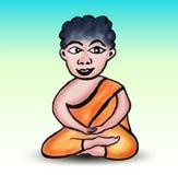 Βουδιστική διανυσματική απεικόνιση κινούμενων σχεδίων μοναχών, hand-drawn βουδισμός Ρ διανυσματική απεικόνιση