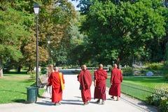 Βουδιστικοί μοναχοί ή ιερείς στην κόκκινη τήβεννο που περπατούν σε ένα όμορφο πράσινο πάρκο στοκ εικόνες