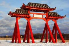 βουδιστικός κόκκινος ναός πυλών στοκ φωτογραφία με δικαίωμα ελεύθερης χρήσης