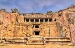 Βουδιστικό μοναστήρι Mahayana στις σπηλιές Ellora Μια περιοχή παγκόσμιων κληρονομιών της ΟΥΝΕΣΚΟ Maharashtra, Ινδία στοκ φωτογραφία