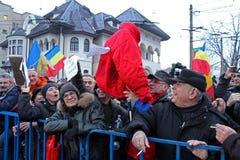 Βουκουρέστι, Ρουμανία - διαμαρτυρία ενάντια στον Πρόεδρο Klaus Iohannis Στοκ Εικόνες