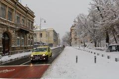 Βουκουρέστι, Ρουμανία - 17 Ιανουαρίου: Οδός Victoriei Calea σε Janua Στοκ Εικόνες