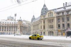 Βουκουρέστι, Ρουμανία - 17 Ιανουαρίου: Πανεπιστημιακό τετράγωνο στις 17 Ιανουαρίου Στοκ Φωτογραφία