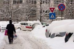ΒΟΥΚΟΥΡΕΣΤΙ ΡΟΥΜΑΝΙΑ - 14 Φεβρουαρίου: Καιρικές ανωμαλίες Στοκ φωτογραφίες με δικαίωμα ελεύθερης χρήσης