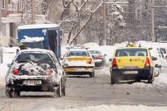 ΒΟΥΚΟΥΡΕΣΤΙ ΡΟΥΜΑΝΙΑ - 14 Φεβρουαρίου: Καιρικές ανωμαλίες Στοκ Φωτογραφία