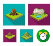 Βουνά, βράχοι και τοπίο Την ανακούφιση και τα βουνά καθορισμένες τα εικονίδια συλλογής στο επίπεδο απόθεμα συμβόλων ύφους isometr Στοκ Φωτογραφίες