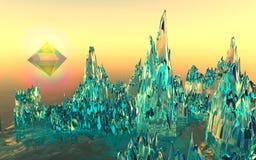 Βουνά γυαλιού στην κοιλάδα πυραμίδων Στοκ Φωτογραφία