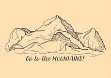 Βουνά Η επιγραφή: Πηγαίνετε στα βουνά Στοκ Εικόνες
