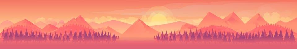 Βουνά και δάσος, τοπίο φύσης, διανυσματικό υπόβαθρο Στοκ εικόνες με δικαίωμα ελεύθερης χρήσης