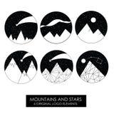 Βουνά και αστέρια Υψηλός - ποιοτικά αρχικά λογότυπα στοκ φωτογραφίες