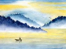 Βουνά και θάλασσα διανυσματική απεικόνιση