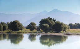 Βουνά μέσω της λίμνης και των δέντρων στοκ φωτογραφίες