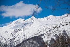 Βουνά που καλύπτονται με το τοπίο χιονιού snowcaps Στοκ Εικόνα