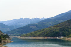 Βουνά που καλύπτονται από τα δάση πεύκων που κατεβαίνουν στη λίμνη Στοκ φωτογραφία με δικαίωμα ελεύθερης χρήσης