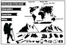 Βουνά που το infographics με τα εικονίδια του εργαλείου ταξιδιού και μιας σκιαγραφίας του τουρίστα Στοκ εικόνες με δικαίωμα ελεύθερης χρήσης