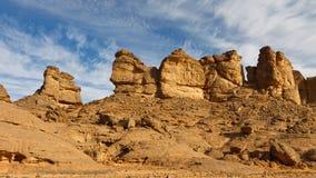 βουνά Σαχάρα της Λιβύης ερήμων akakus Στοκ Φωτογραφία